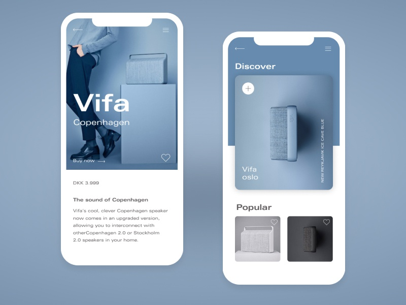 Vifa Copenhagen Blue - Mobile App ui ux website web vector ux ui typography type minimal logo illustration icon flat design clean character branding brand app animation