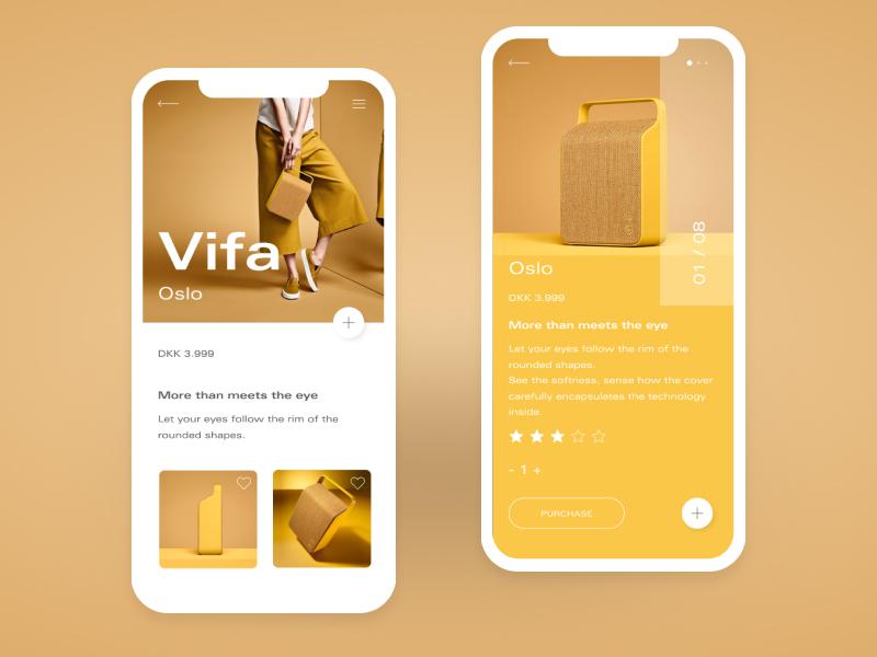 Vifa Oslo Yellow - Mobile App web design website web vector ux ui typography type minimal logo illustration icon flat design clean character branding brand app animation