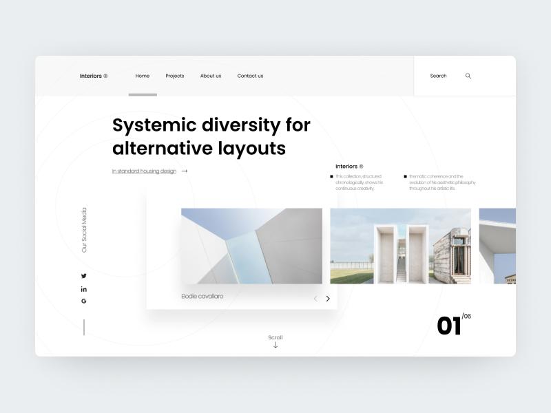 Interiors Studio - Project N°20 web design website web vector ux ui typography type minimal logo illustration icon flat design clean character branding brand app animation