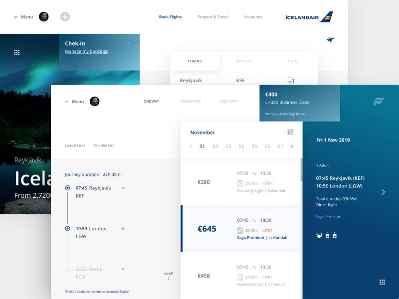 Icelandair Airline - Interactive Journey flight booking flight icelandair web design website web vector ux ui typography type minimal illustration icon flat design clean character branding brand