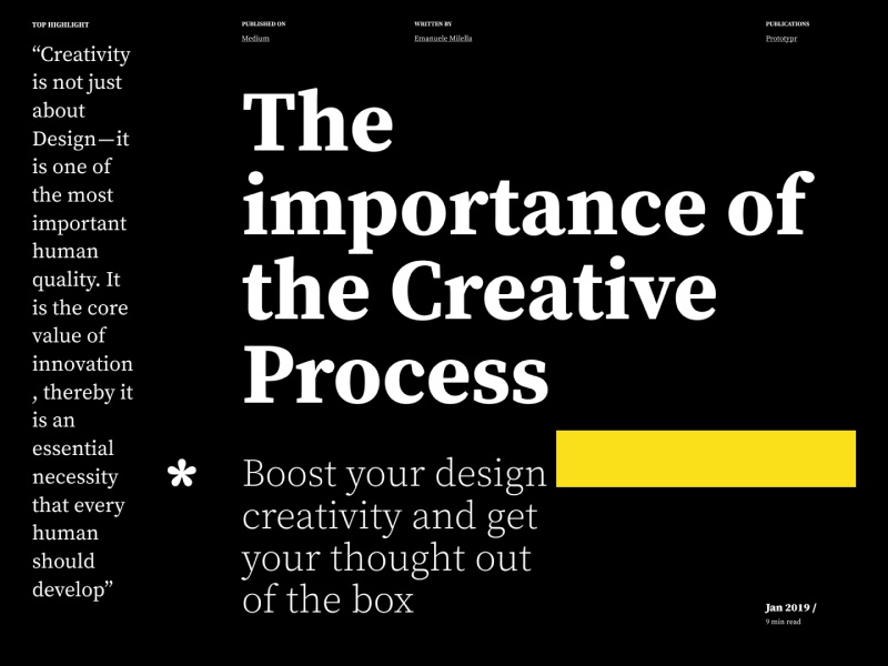 The Importance Of The Creative Process desktop landing page ui ux vector clean flat identity lettering character minimal web design web website design brand type branding typography ux ui