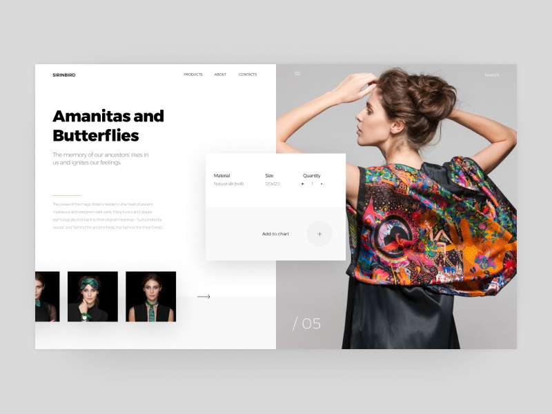 Amanitas and Butterflies - Sirinbird homepage e-commerce brand clean icon landing page identity ui ux type branding character illustration minimal web design flat web ui ux website typography design