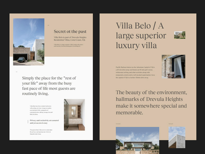 Villa Belo. Fiji - Residential ui web design clean design layout minimal typography website web