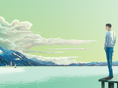Taking A Moment scenery sketch landscape poster drawing character design illustration
