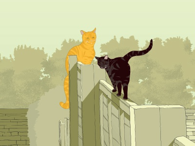 Ralph and Albert scenery sketch landscape poster drawing cats design animals illustration