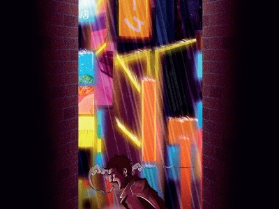 Neon City comic book art blade runner rain scenery sketch landscape poster drawing character design illustration
