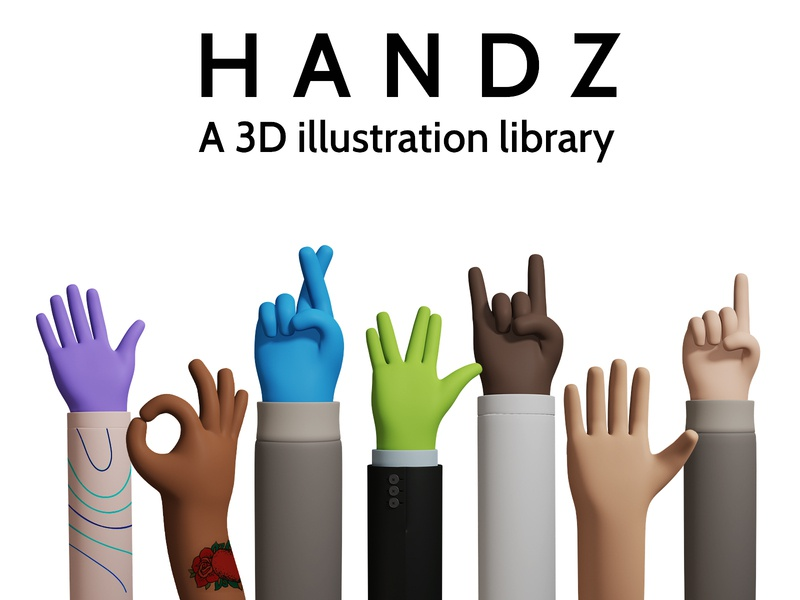 H A N D Z - A 3D Illustration library library 3d branding ui design illustration