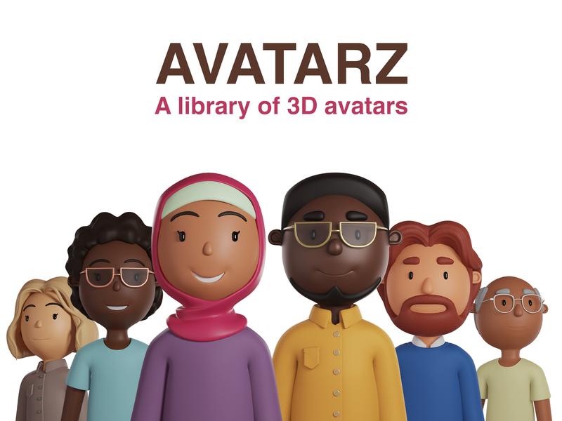 Avatarz - Library of 3D avatars illustration ui library design 3d