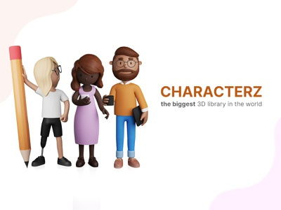 CHARACTERZ is out  🎉 resource illustrator ui resources library illustration design 3d