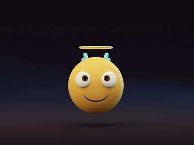 😇 Smiling Face with Halo 3d animation threedee emoticon emojis emoji set emoticons emoji model illustrations blender videogames animation video website resources illustrator library illustration design 3d