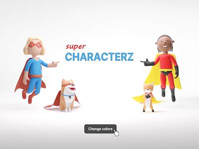 Super CHARACTERZ & PETZ 🚀 characterz female male man dog cat diversity ui design illustrations illustraion ui animation web blender website resources library illustration design 3d