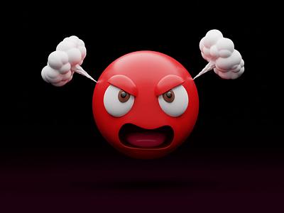 Anger 😡 red emojis illustrations blender emoji set anger angry emoticon animation 3d modeling 3d animation emoji library illustration design 3d