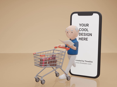 Mobile shopping 🛒 3d illustrations 3d mockup 3d illustration humaaans humans 3d human shopping app shopping cart shopping blender 3d icon cart 3d animation iphone mockup 3d character design 3d character illustration design 3d