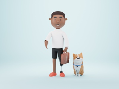 Nice to meet you 🤝 black illustration studio illustrations 3d dog dogs dog illustration humaaans black character 3d modeling 3d character blender inclusive design inclusive inclusion illustration design dog illustration design 3d