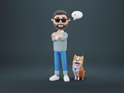 Cutest 3D duos illustrator design resources design resource studio 3d illustration 3d characters 3d modeling 3d character cute dog design 3d animation illustrations ui blender library resources illustration 3d