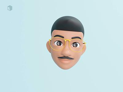 Sneek peak 5 - Indian man with moustache 👨 man facial expressions cute threedee 3d animation illustrations resources 3d character avatar head apple design facemoji apple memoji library blender 3d illustration design