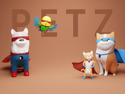 PETZ 3D library updated! dark superhero superheroes designers threedee studio branding renders blender bird cute husky dog pets illustrations resources library illustration 3d design