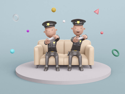 Everybody needs to rest fun playstation gaming gamer policewoman policeman sheriff animation characterz kawaii cute designer resources library blender illustrations police illustration 3d design