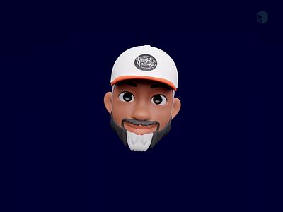 Fred emoticon emoji set emoji memoji laughing shocked smile hat motion graphics animation kawaii cute head illustrations resources 3d blender library illustration design
