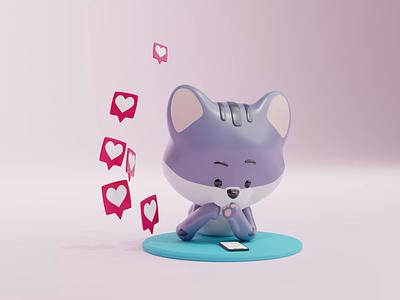🐱 + 📱 = ❤️ mobile branding motion graphics tutorial 3d animation animation designer resources 3d kitty cat kitty cat cat cute kawaii 3d illustration illustrations resources blender library 3d illustration design