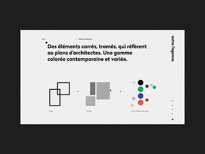 extra l'agence layout grid animation web ui branding website webdesign design art direction