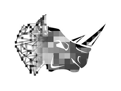 Pixel Rhino wireframe square rhinoceros white black monochromatic pixelation branding logo rhino logo rhino
