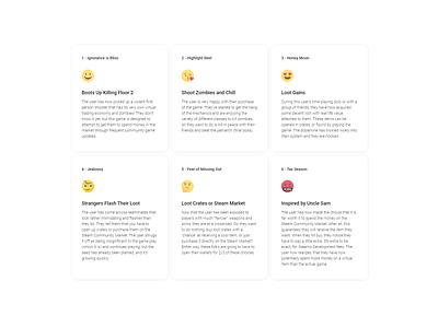 Gamer's Emotional Journey - Emoji Material Cards webflow cards material emojis gaming emotional journey case study ux ui