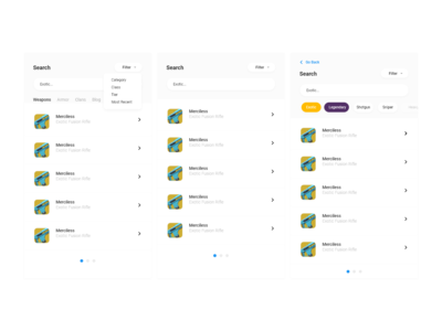 Destiny Meta Search Iterations quickfilters material design google material design dropdown lootershooter iterations ui. search exotic weapons loot destiny 2 destiny dribbble adobexd