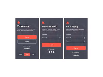 Zedconomy Redesign (2014 --> 2019). firebug material login signup sign in mobile ui steam killing floor 2 mobileapp adobexd