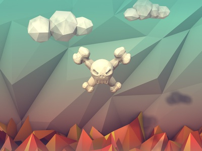 Purgatory illustration low poly 3d skull art purgatory