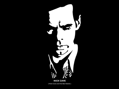 Nick Cave illustration drawing nick cave black  white one color