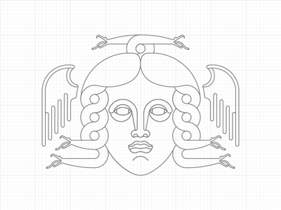Gorgon WIP outline line art circles lines geometric drawing logo gorgon