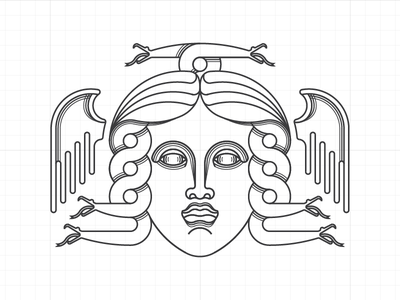 Gorgon WIP logo label outline gorgon illustration drawing line art
