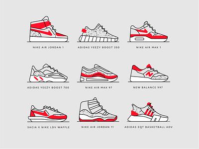 Set of sneakers eqt ldv waffle new balance boost yeezy air jordan air max nike sneakers