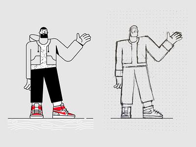 Character design outline textures airjordan nike illustraion draft skech minimal vector sneakers sneakerhead characterdesign