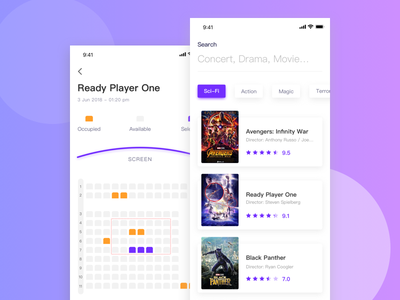 Movie app ticket select seat mobile ios cinema interface user ui application app movie