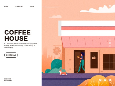 Coffee and Dog white clouds house people dog coffee leisure web design illustrations illustration visual ui插画 ui
