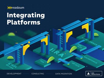 key visual application platform bridge key visual summit atlassian branding advertising vector illustration