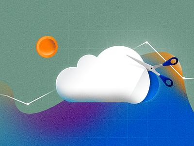cutting the cloud cost graph cut cutout cost cloud branding blog vector illustration