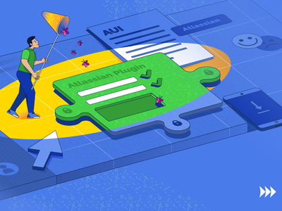 Blog article illustration atlassian add-on plugin testing assurance quality blog marketing advertising vector illustration