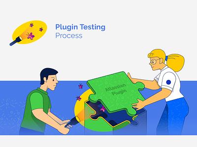 blog illustration search light add-on plugin testing assurance quality qa advertising marketing blog vector illustration