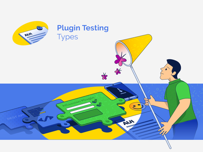 blog illustration add-on plugin guides atlassian testing assurance quality qa blog advertising vector illustration