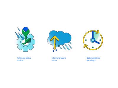 integration process icons application atlassian tools integration data cloud blog marketing vector illustration