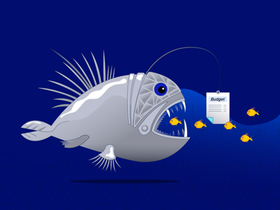 blog post illustration dangers fishing fish risk management risks budget calculation cost funny digital marketing blog marketing vector illustration