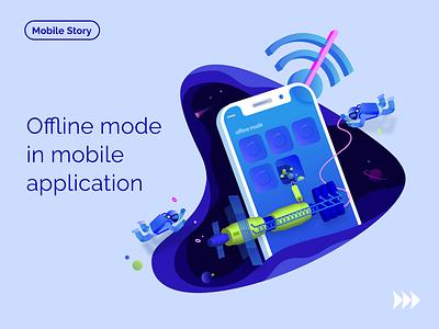 Ofline mode applicaiton app offline code build mobile space illustration blog