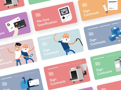 Colorful Dashboard Banner Elements colorful flat character illustration story card banner