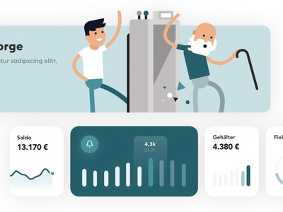 Insurance Dashboard UI Elements uidesign minimal flat card dashboard chart banner insurance pension timemachine illustration character ui