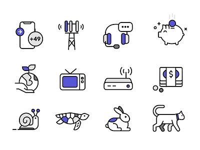 Communication Icon Set sustainable snail rabbit speed mobile illustration icons pack iconset icons