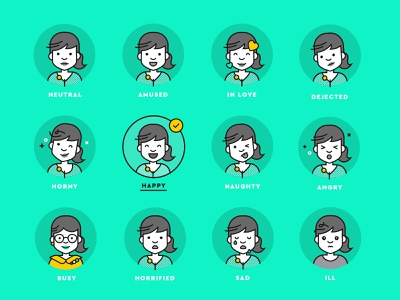 How are you girl? - facial expressions facial expression faces character illustration