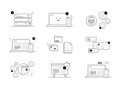 Web Illustrations line design icons set illustration